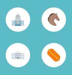 set of america icons flat style symbols with hot vector image