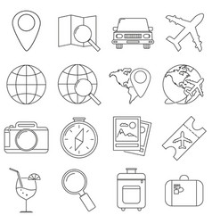 set of icons in the style of lines a compass vector image