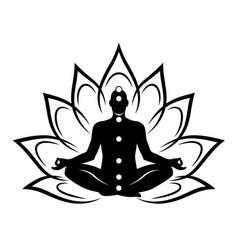 Silhouette meditating man vector