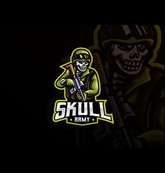 Skull military mascot sport logo design vector