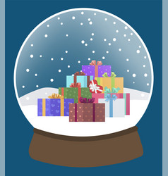 Snow globe with presents glass ball xmas toy vector