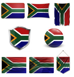 South african flag a grunge vector