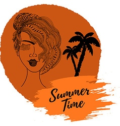 Summer time Hand drawn girl head and palms trees vector image