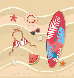 surfboard with bra swimsuit and watermelon with vector image