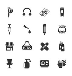 Tattoo salon icon set vector