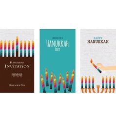 Three cards for jewish holiday hanukkah vector