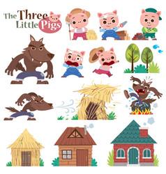three little pig vector image
