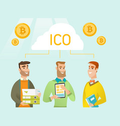 Three young caucasian men united by one ico cloud vector