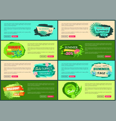 tropical banners set with push buttons promo group vector image