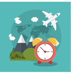 Vacations clock mountain plane world vector
