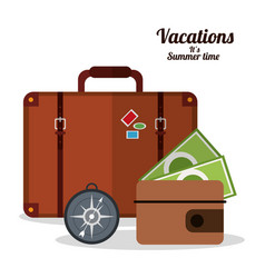Vacations summer time - suitcase wallet and vector