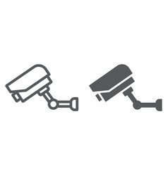 video surveillance line and glyph icon electronic vector image