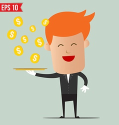 Waiter serving money - - EPS10 vector