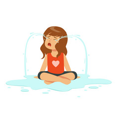 Weeping girl character sitting on the floor in a vector