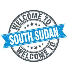 Welcome to south sudan blue round vintage stamp vector