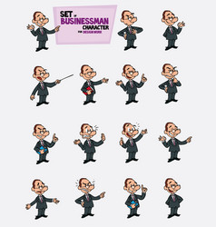 White businessman with glasses set of postures of vector