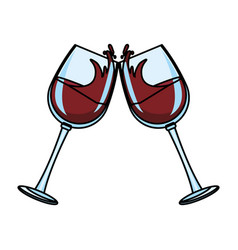 Wine cups toast vector