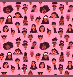 Women seamless pattern diverse woman face vector