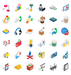 business start up icons set isometric style vector image vector image