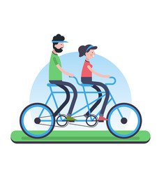 couple riding tandem bike for environment help vector image
