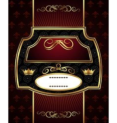 decorative gold frame label - vector image