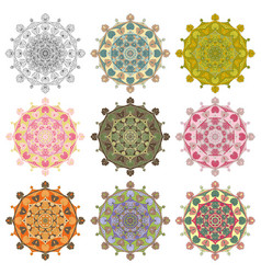 set mandala different color 43 vector image