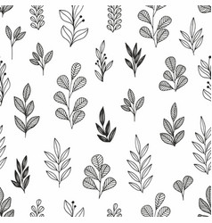 stylized flowers and branches linear seamless vector image
