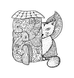 Adult coloring book page Mono color black ink vector image vector image