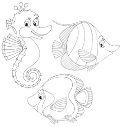 Coral fishes and seahorse vector image