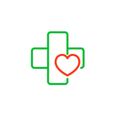 Cross with a heart logo for the clinic vector