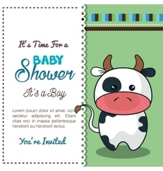 invitation baby shower card with bull desing vector image vector image
