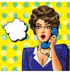 pop art vintage business woman talking on vector image vector image