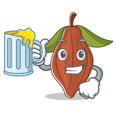 With juice cacao bean mascot cartoon vector