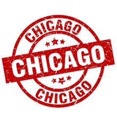 chicago red round grunge stamp vector image