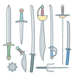 cold weapons colored outline set vector image vector image