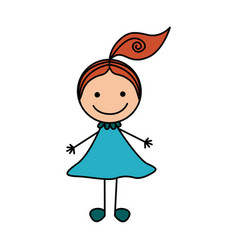 Colorful hand drawing cute girl with red hair vector