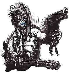 Monster Creature with the Guns - Freehand vector image vector image