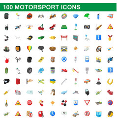 100 motorsport icons set cartoon style vector image vector image