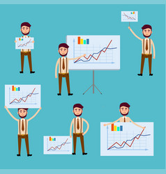 business concept with men holding diagram posters vector image vector image