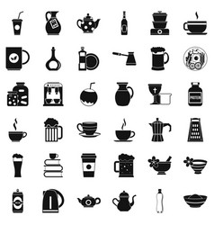 dinnerware icons set simple style vector image