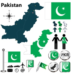 Map of Pakistan vector image vector image