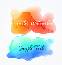 orange and blue watercolor ink stain background vector image