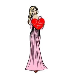 Woman with heart in hands vector image vector image