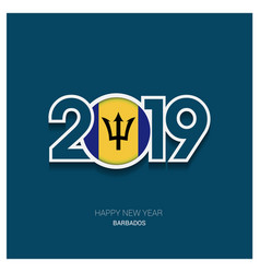2019 barbados typography happy new year background vector