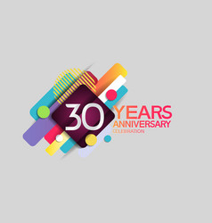 30 years anniversary colorful design with circle vector