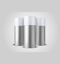 3d realistic silver blank spray can bottle vector image