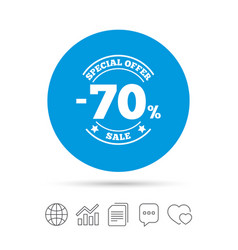 70 percent discount sign icon sale symbol vector image