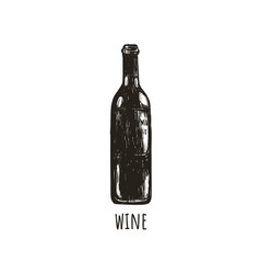 a bottle of wine retro sketch hand drawing vector image