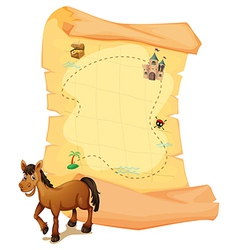 A horse in front of the treasure map vector
