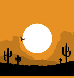 american desert landscape with cactuses vector image